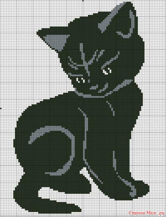Вышивка крестом схемы кошка черная 7131
