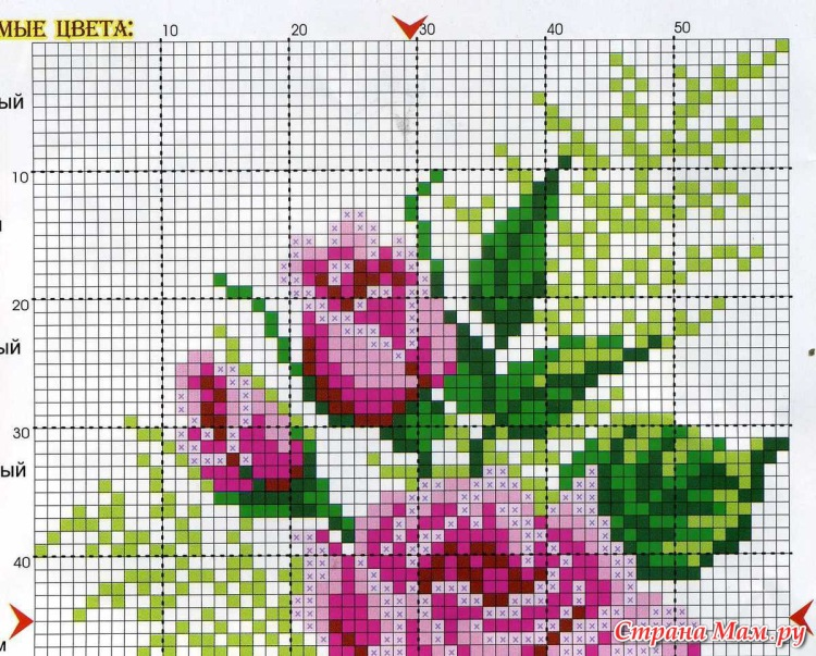 Вышивка схема розы в корзине 24