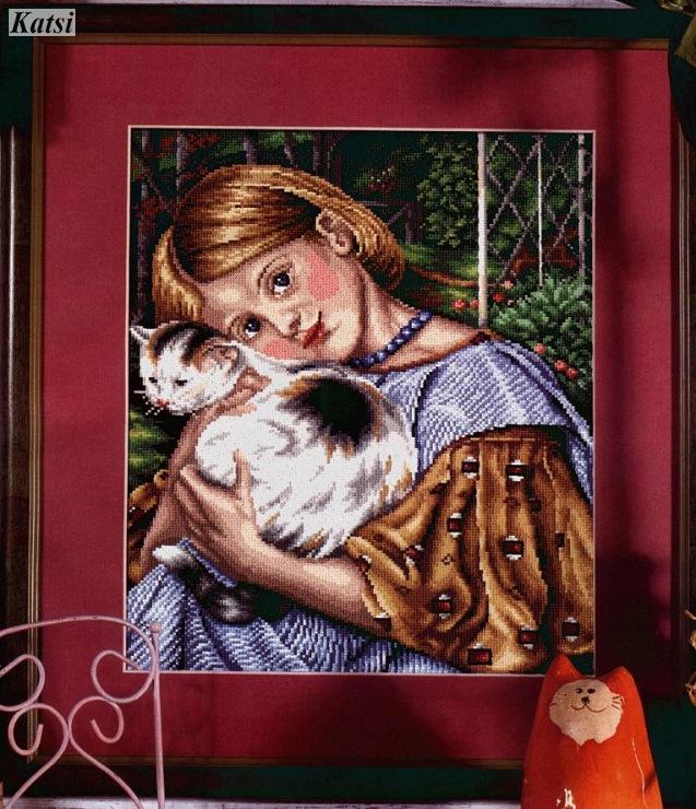 Вышивка девочка с котёнком 32